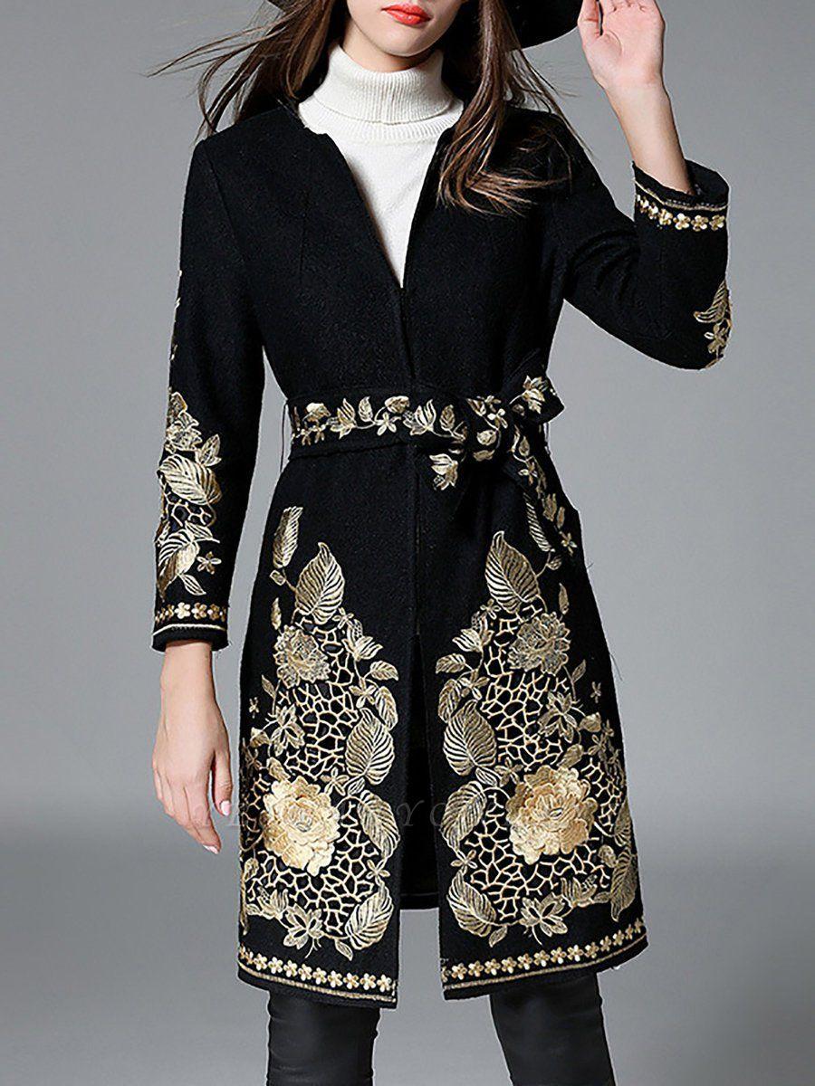 Black Long Sleeve V-Neck Floral-embroidered Coat