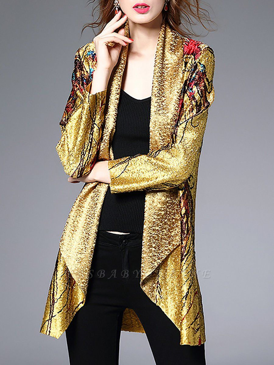 Yellow Abstract Shawl Collar Casual Asymmetrical Crinkled Batwing Coat