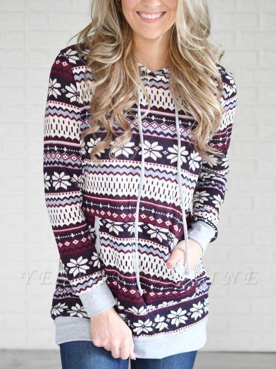 Ethnic Style Snowflake Printed Long Sleeves Hooded Christmas Fleece Hoodies for Women