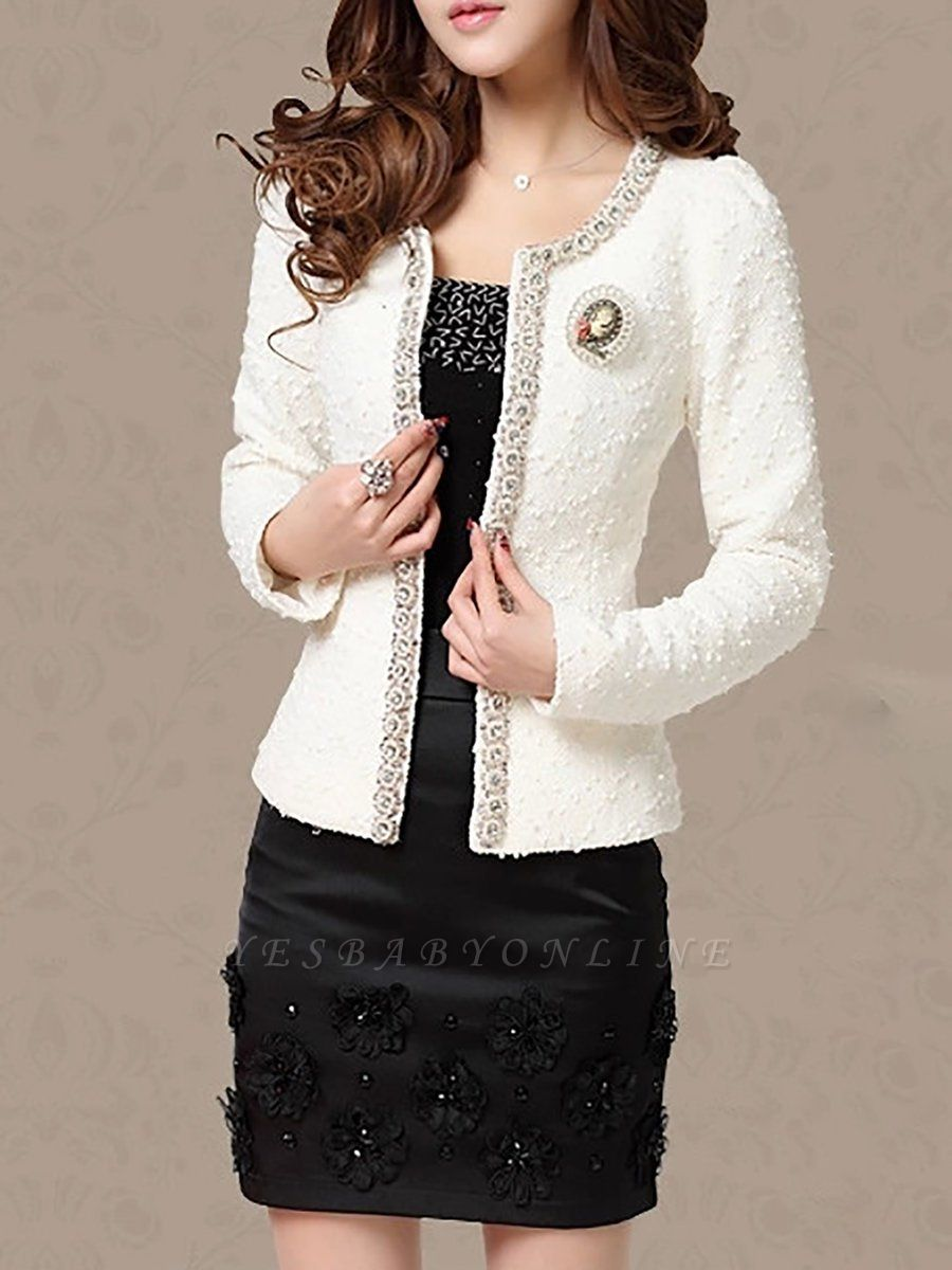 Beaded Solid Work Swiss-dot Coat with Brooch