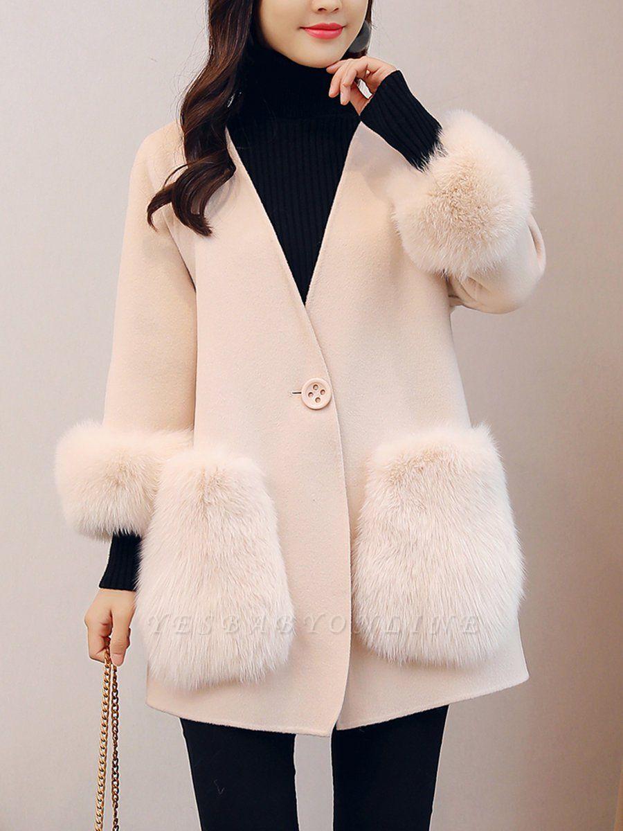 Beige Solid Simple Coat