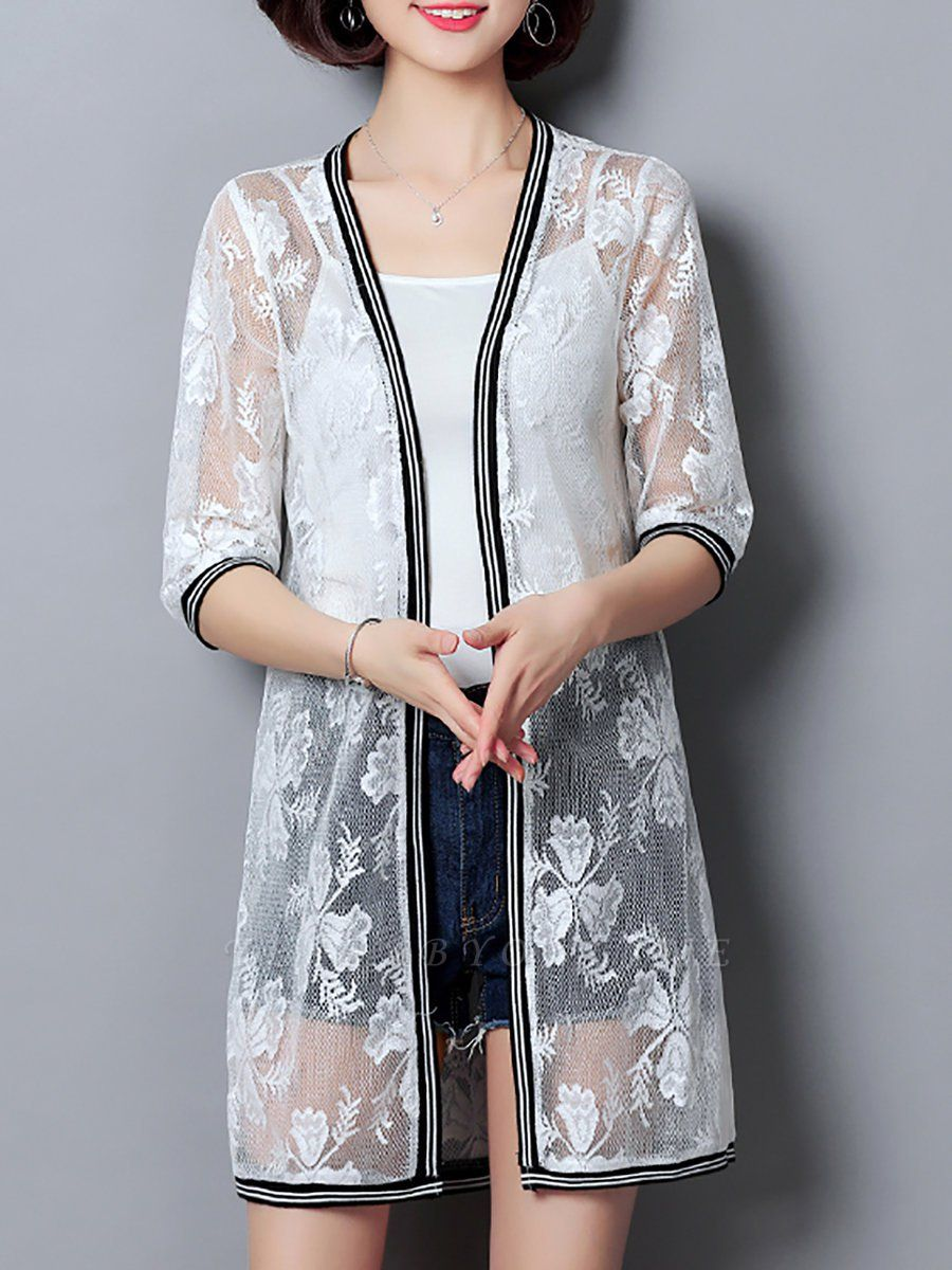 Casual Guipure lace 3/4 Sleeve Solid Summer Coat