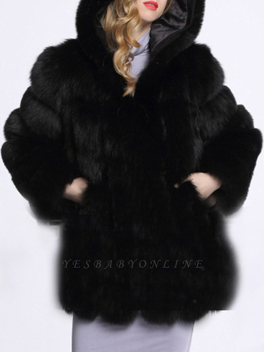 Fluffy Hoodie Casual Artificial LeatherAnd Shearling Coat