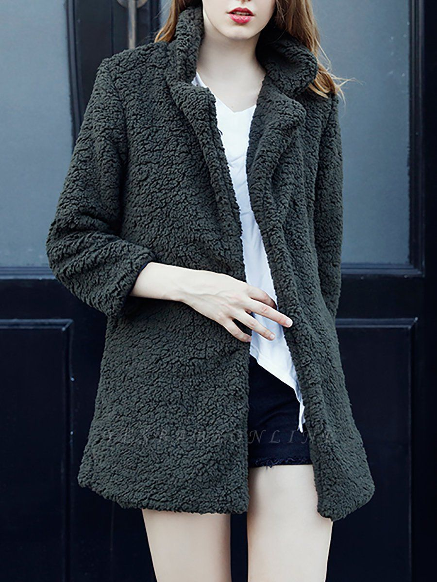 Green Solid Shift Faux Fur Casual Long Sleeve Fur and Shearling Coat