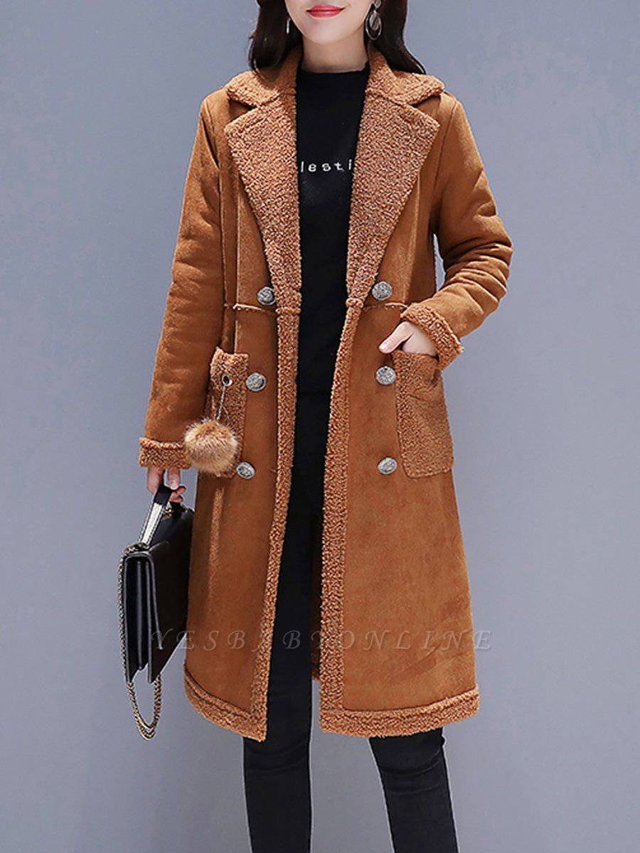 Long Sleeve Lapel Buttoned Fur And Shearling Coats