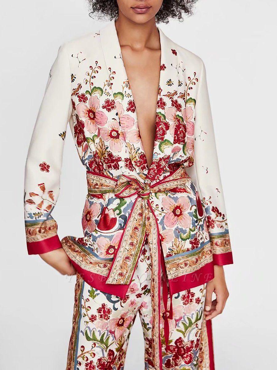 Red Deep V-Neck Long Sleeve Belts Printed Floral Coat