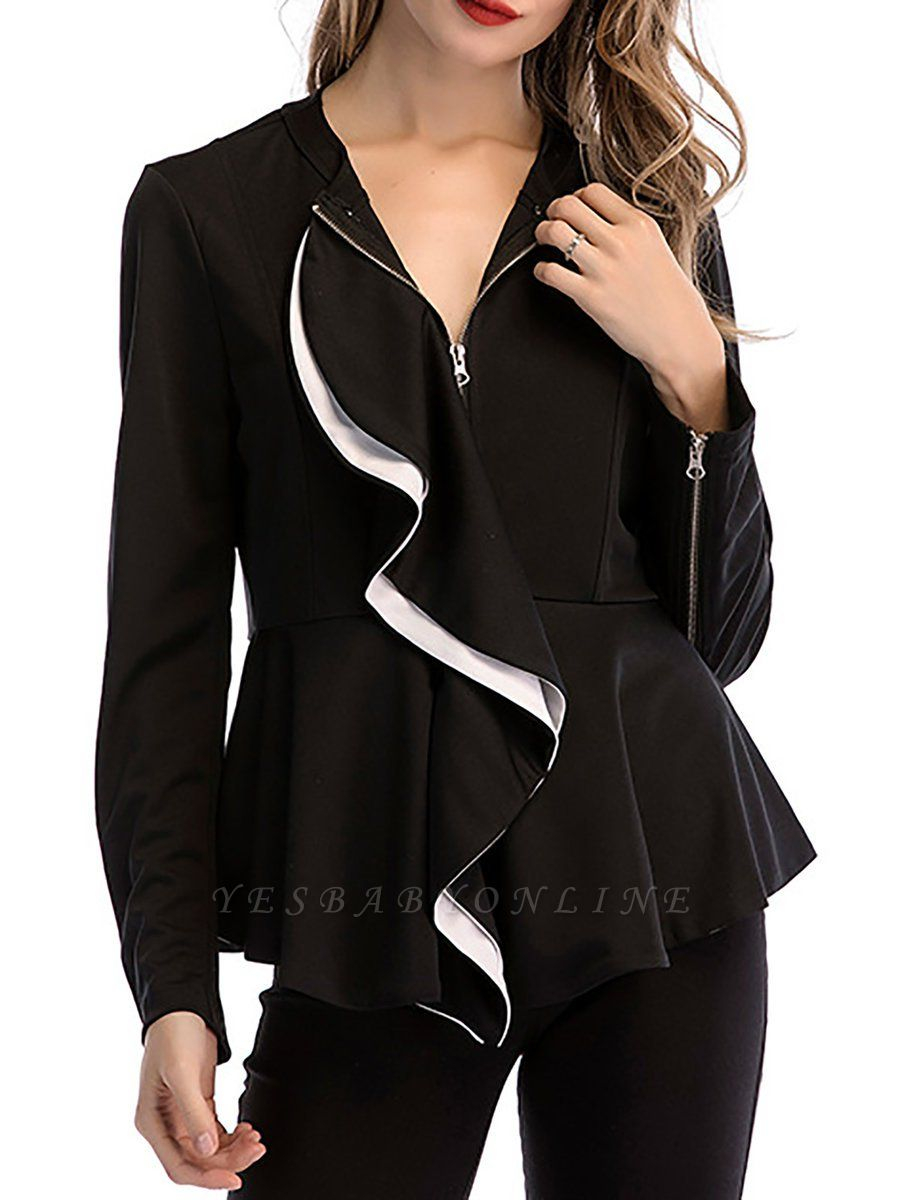 Black Long Sleeve Zipper Casual Flounce Crew Neck Coat