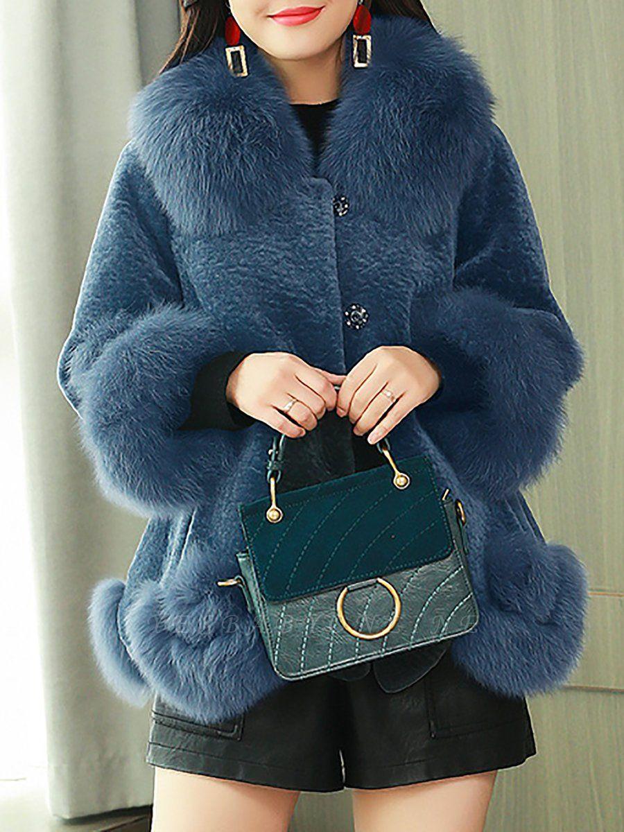 Paneled Shawl Collar Long Sleeve Fur And Shearling Coats