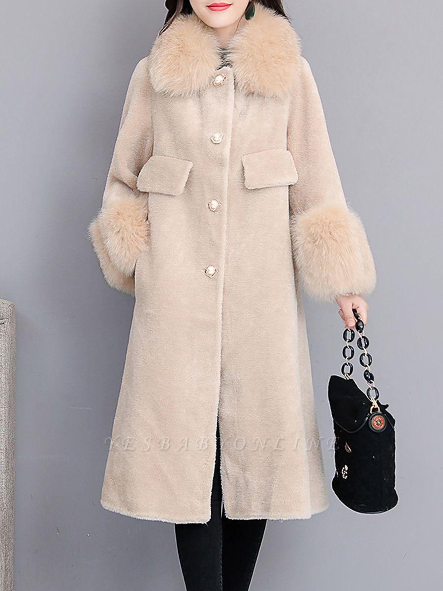 Women's Winter Faux Fur Shearling Coats With Fur Collar