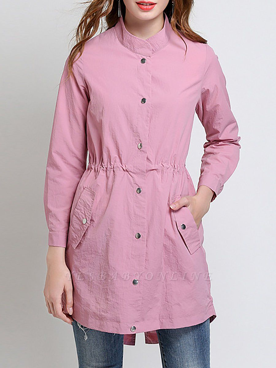 Pink Long Sleeve Stand Collar Coat