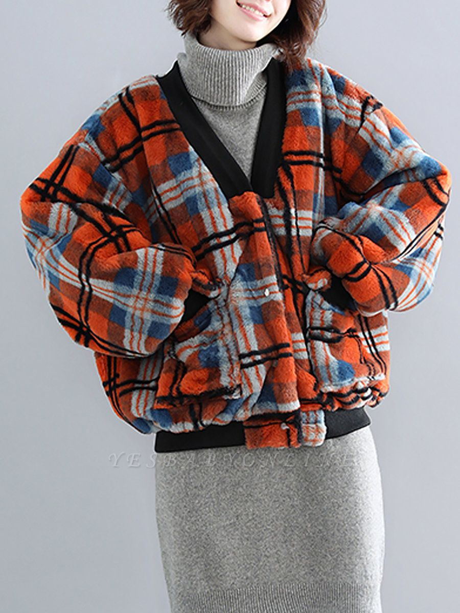 Long Sleeve Checkered/plaid Fur And Shearling Coats