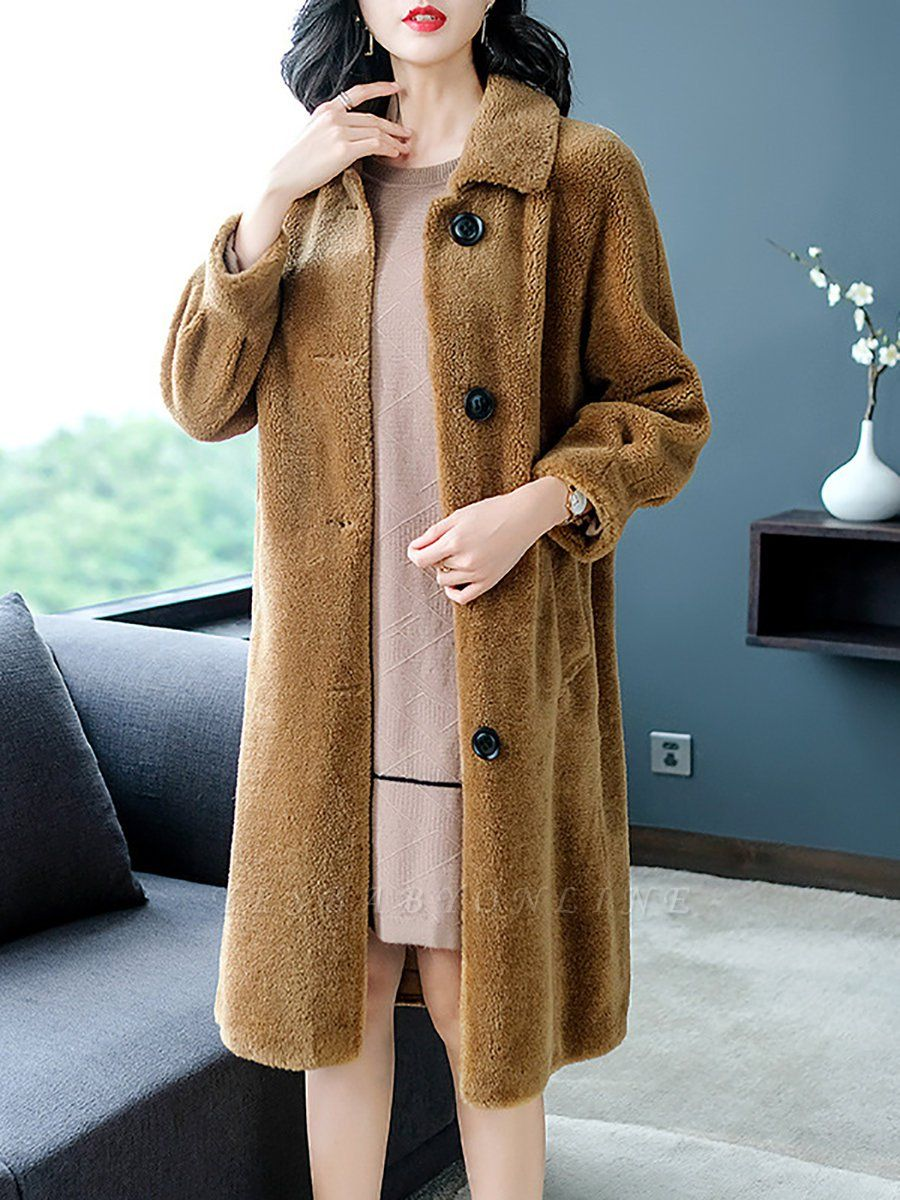 Brown Shawl Collar Casual Fur And Shearling Coats