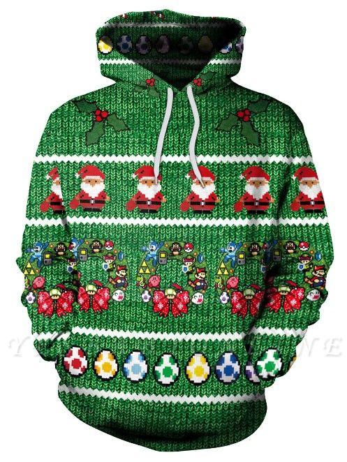 Christmas Casual Couples Hoodies Green Santa Claus Cartoon Printed Hooded Clothes for Men/Women