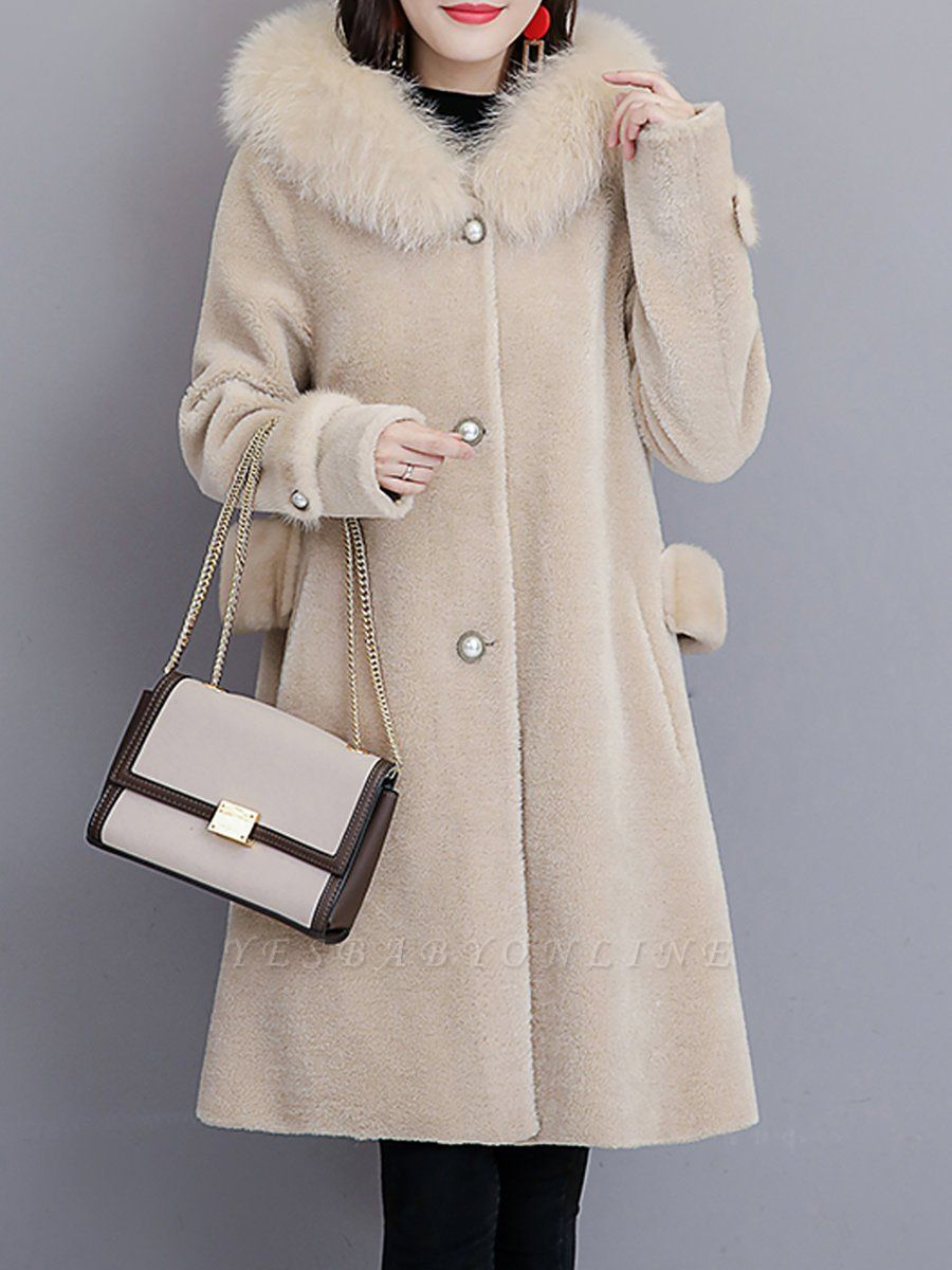 Casual Solid Long Sleeve Fur And Shearling Coats