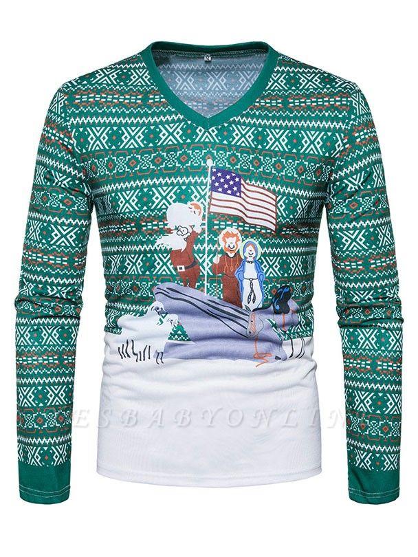 Mens Santa Claus 3D Printed V-neck Long Sleeves Green Ugly Christmas Cotton T-shirts