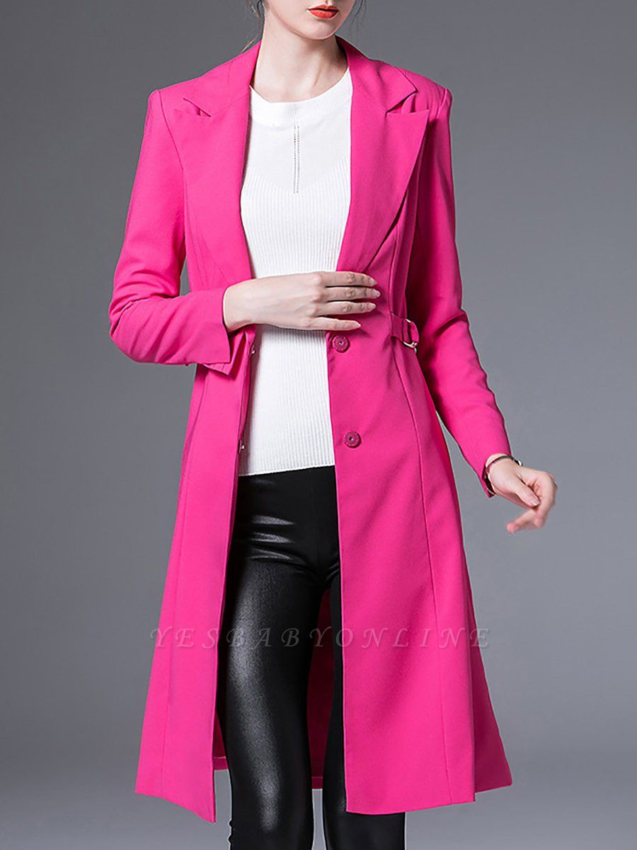 Rose Solid Buttoned Casual Coat