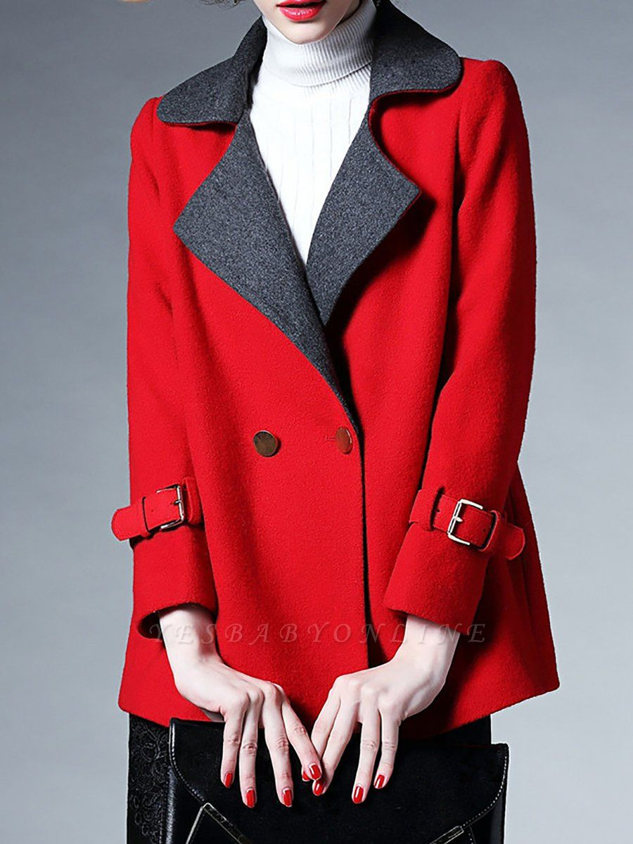 Red Pockets Shift Solid Long Sleeve Coat
