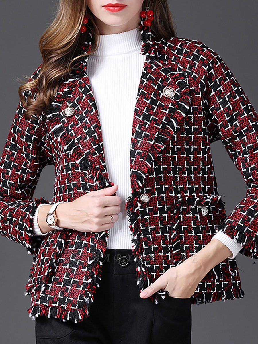 Red Work 3/4 Sleeve Checkered/Plaid Buttoned Coat