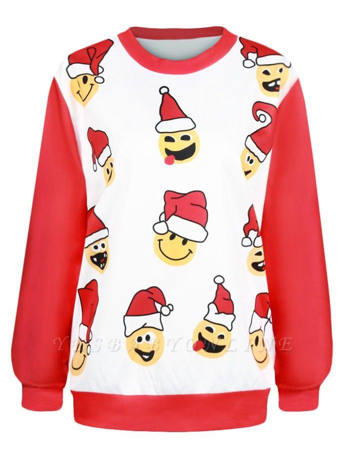 Men/Women Red Cute Cartoon Santa Claus Printed Cotton Thin Funny Christmas T-shirts