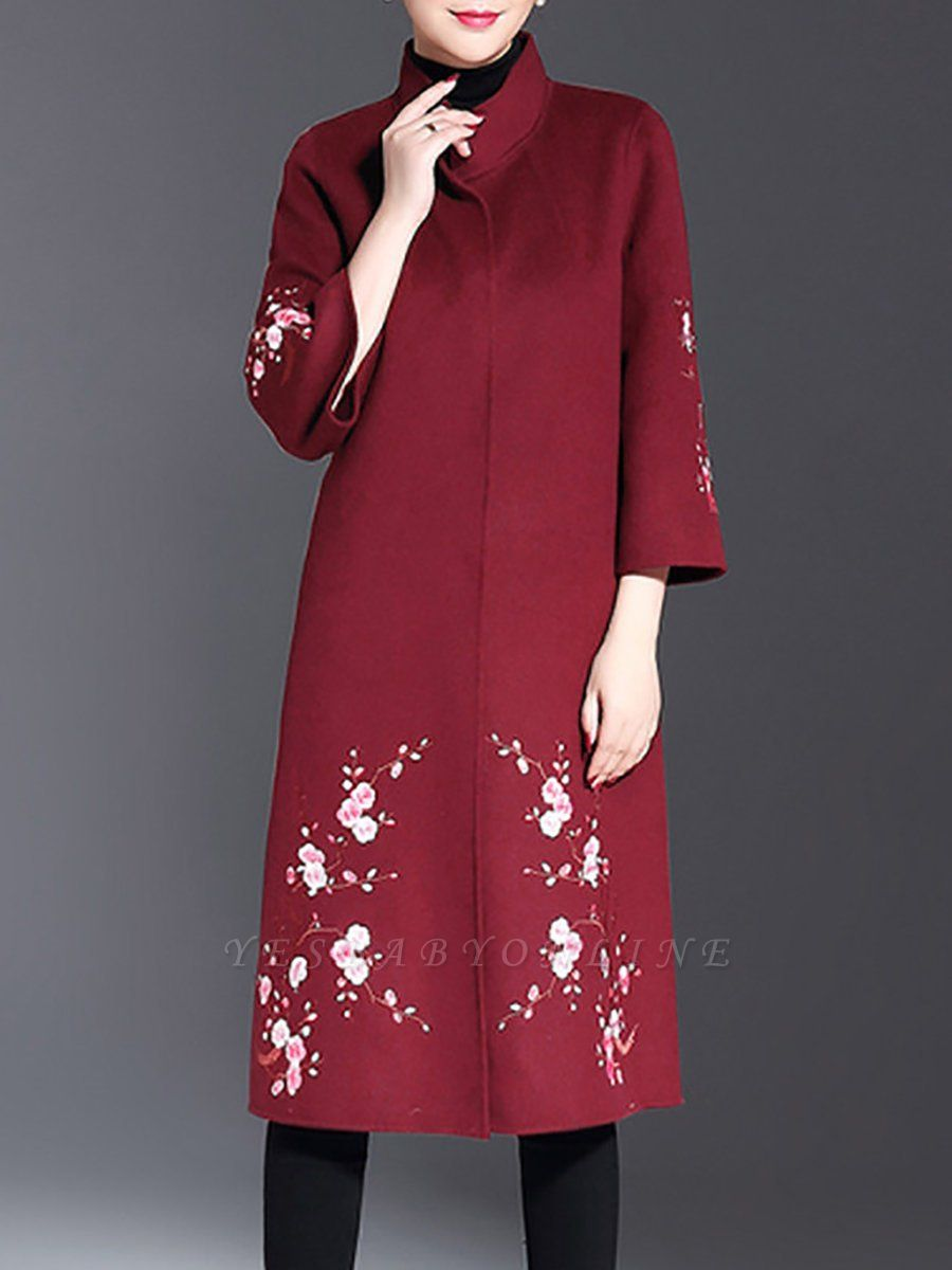 Long Sleeve Floral-embroidered Casual Floral Coat