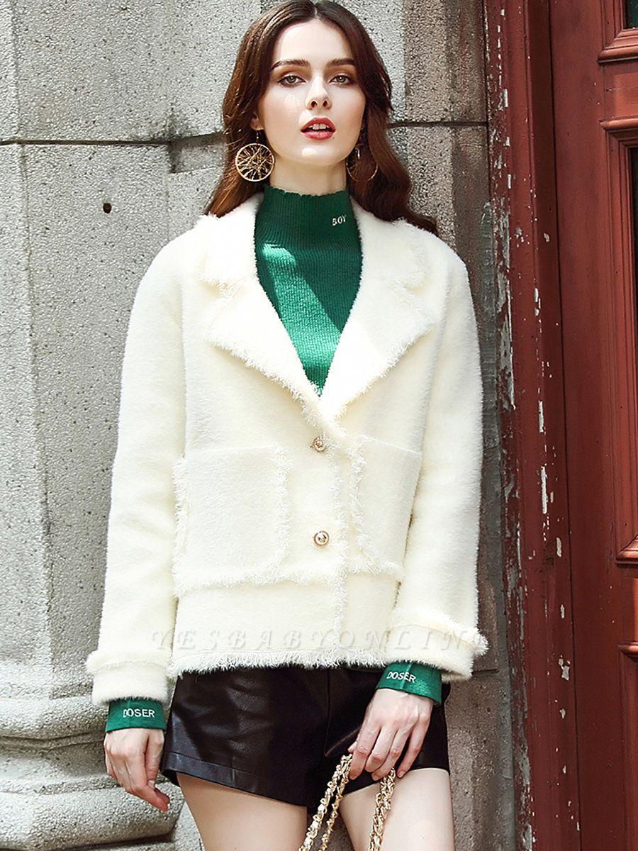 Long Sleeve Work Lapel Shift Fur And Shearling Coats