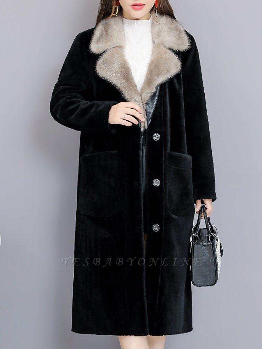 Black Work Lapel Paneled Pockets Fur And Shearling Coats