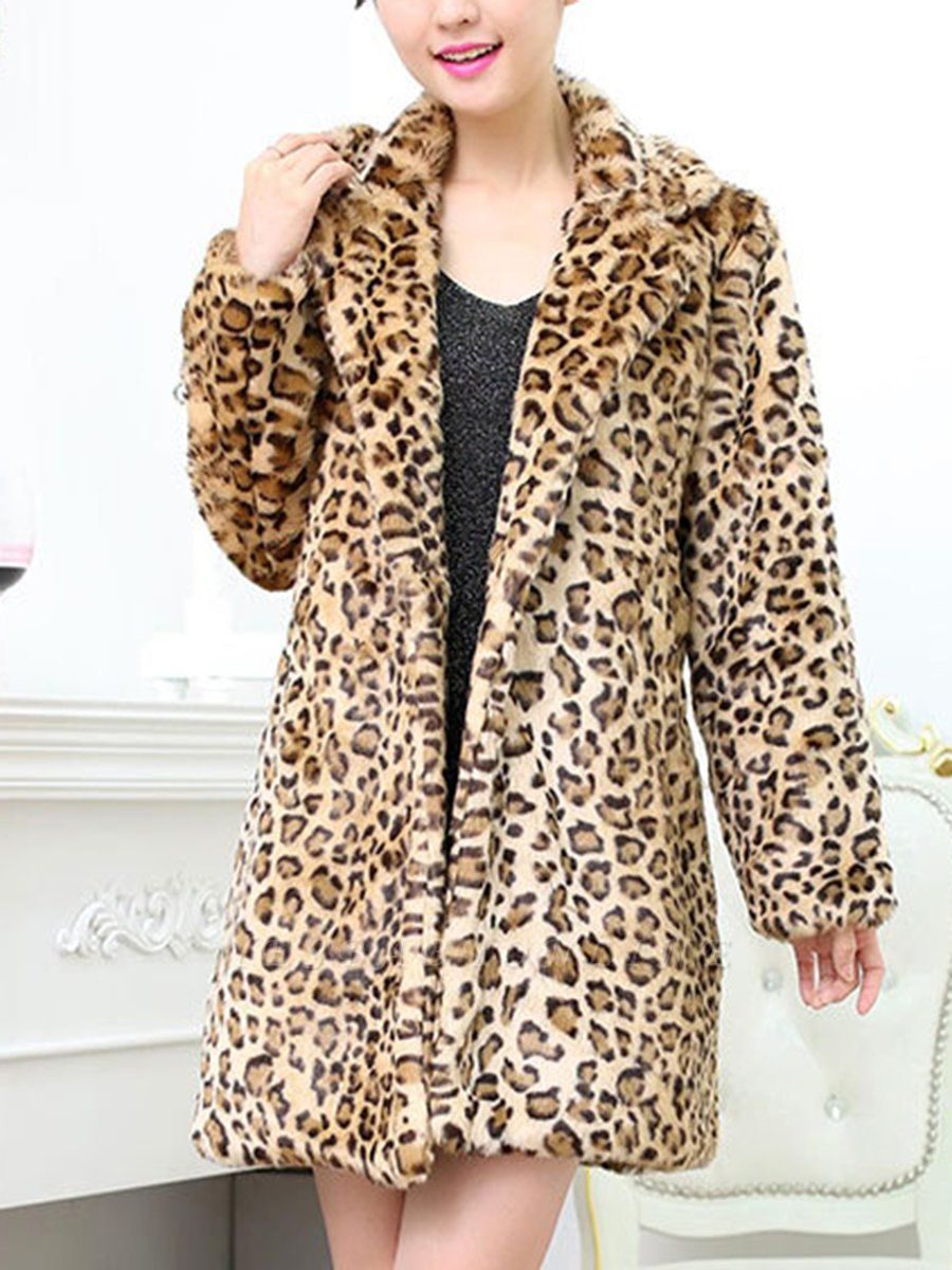 Casual Leopard Print Long Sleeve Artificial Leather And Shearling Coat
