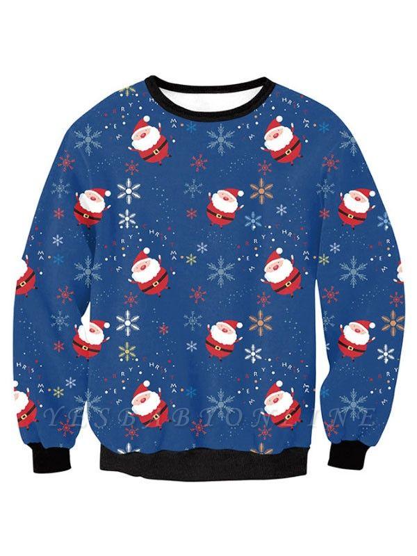 Women's Blue Santa Claus Snowflake Printed Long Sleeves Casual Christmas Sweatshirt