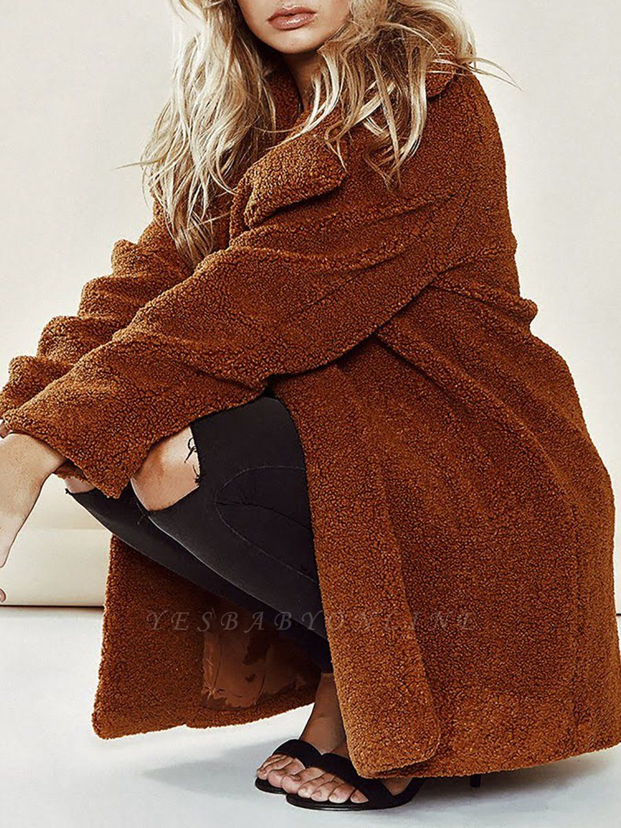 Brown Long Sleeve Lapel Solid Shift Fur And Shearling Coats - StyleWe.com