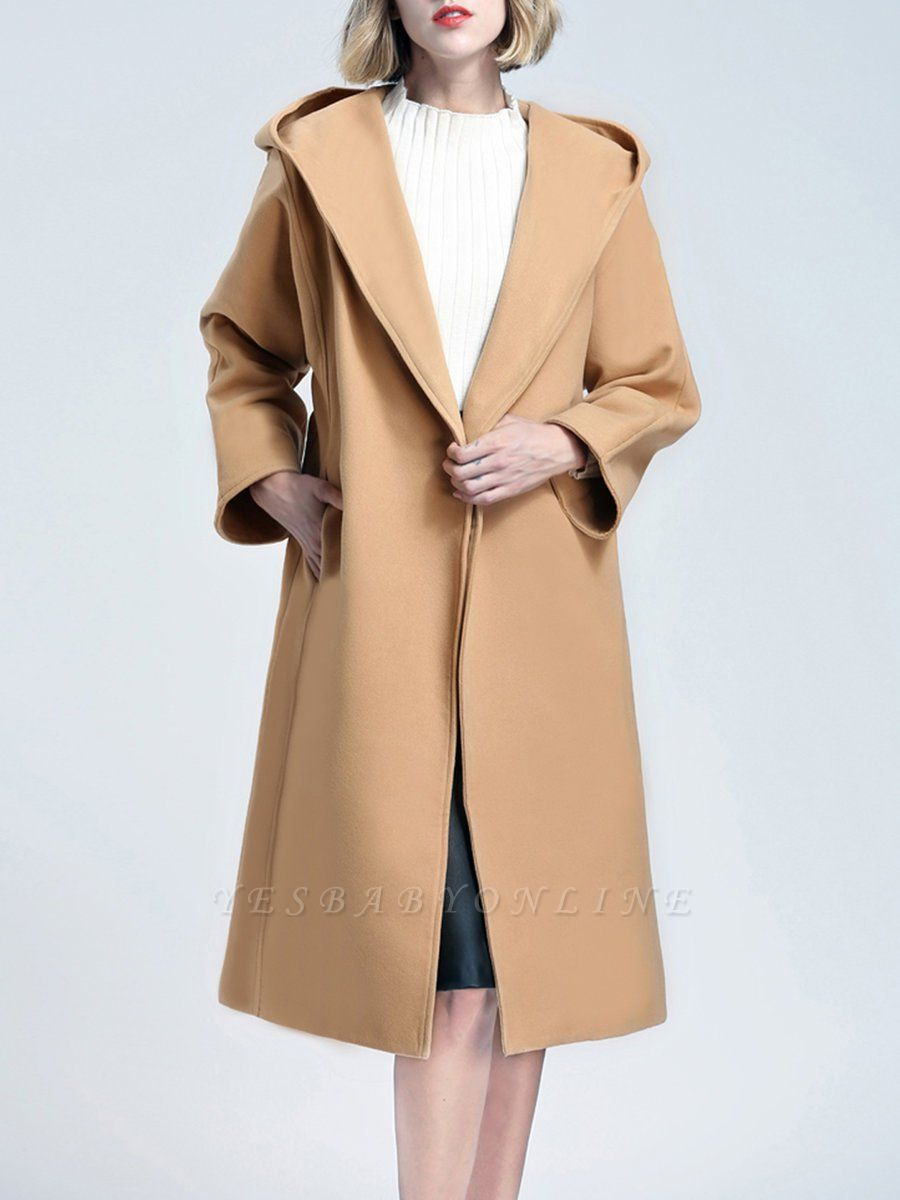 Hoodie Pockets Casual Cotton Long Sleeve Coat