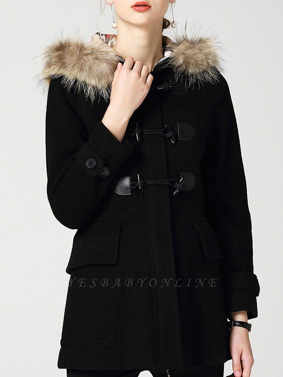 Tencel Hoodie Casual Zipper Buttoned Pockets Solid Coat