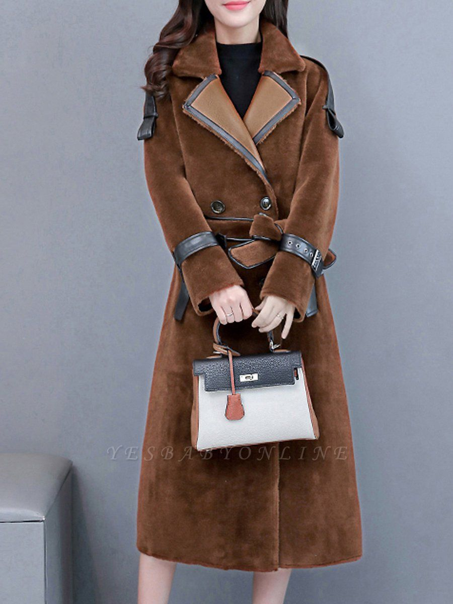 Solid Paneled Long Sleeve Fur And Shearling Coats
