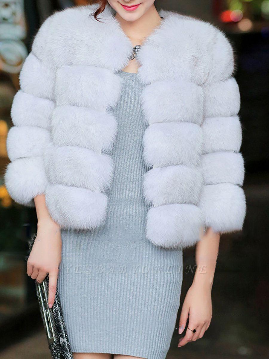 Shift 3/4 Sleeve Fluffy  Fur and Shearling Coat