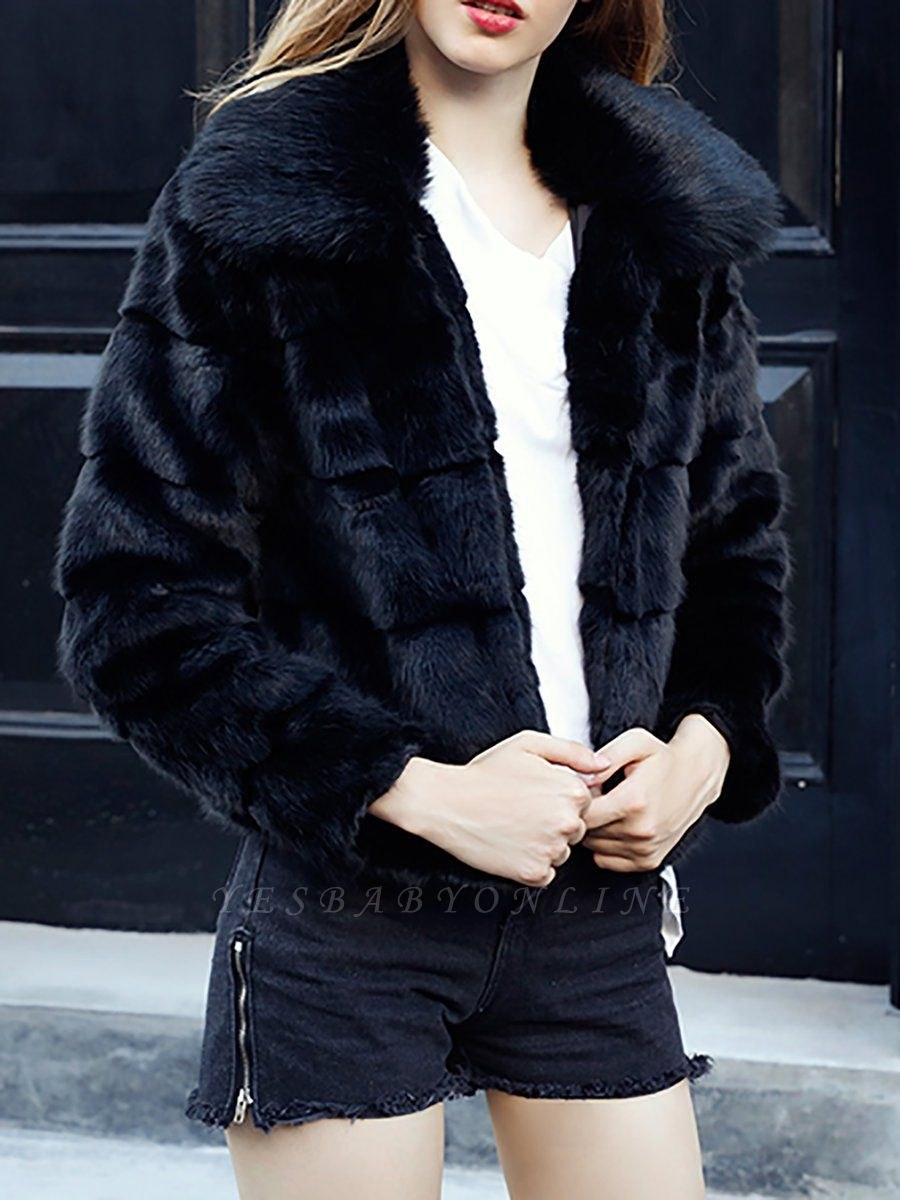 Black Long Sleeve Shift Shawl Collar Casual Color-block Fur and Shearling Coat