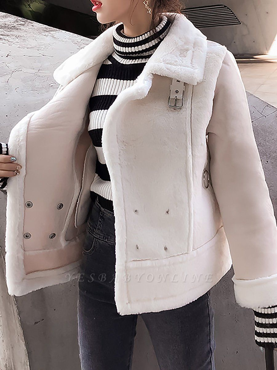 Buttoned Solid Shawl Collar Fur And Shearling Coats