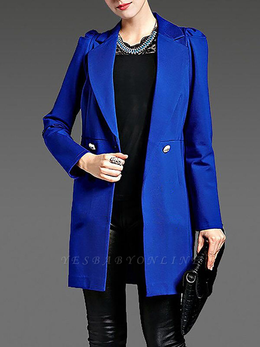 Blue Long Sleeve Buttoned Casual Coat