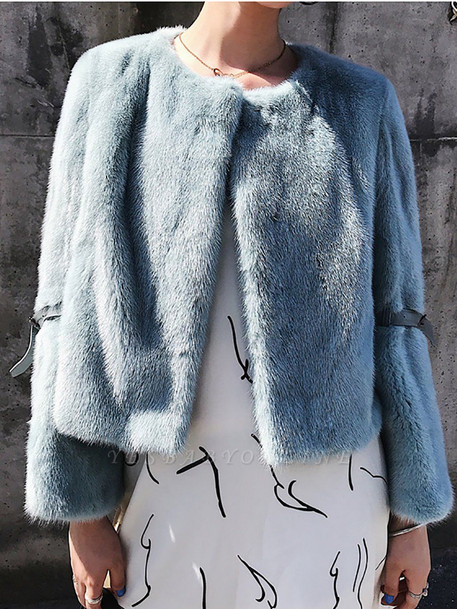Fluffy Crew Neck Casual Fur And Shearling Coats
