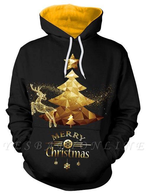 Couple's Black Merry Christmas Tree Elk Printed Long Sleeves Hoodies for Men/Women