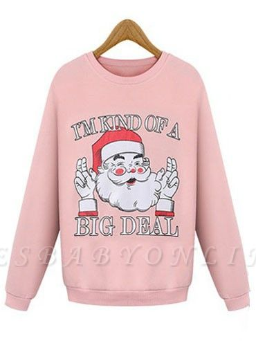 Plus Size Funny Christmas Sweatshirts Letter Santa Claus Printed Cute Thick Fleece Loose Sweats Womens