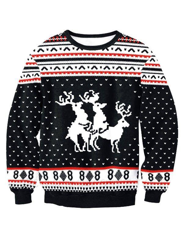 Black Elk Printed Casual Long Sleeves Ugly Christmas Jumpers Sweatshirt for Men/Women