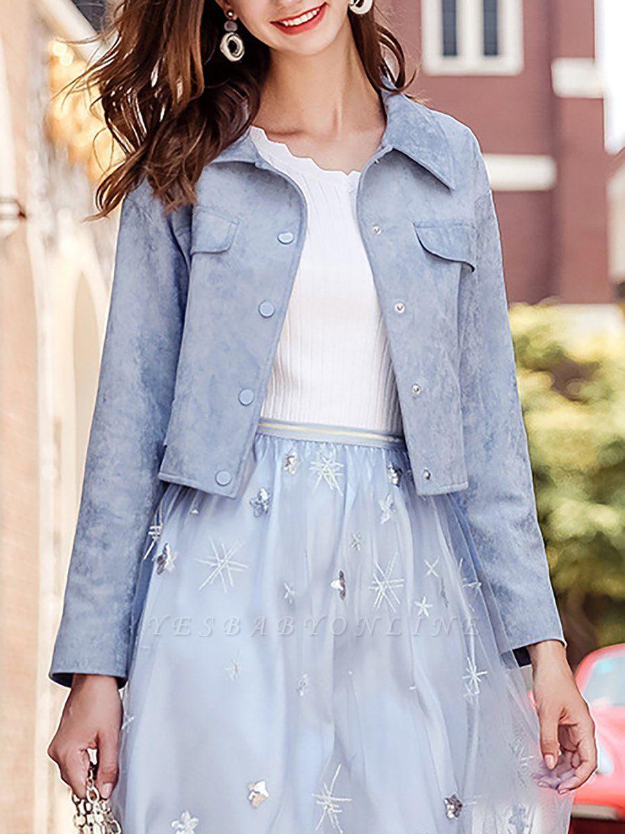 Blue Shirt Collar Long Sleeve Solid Coat