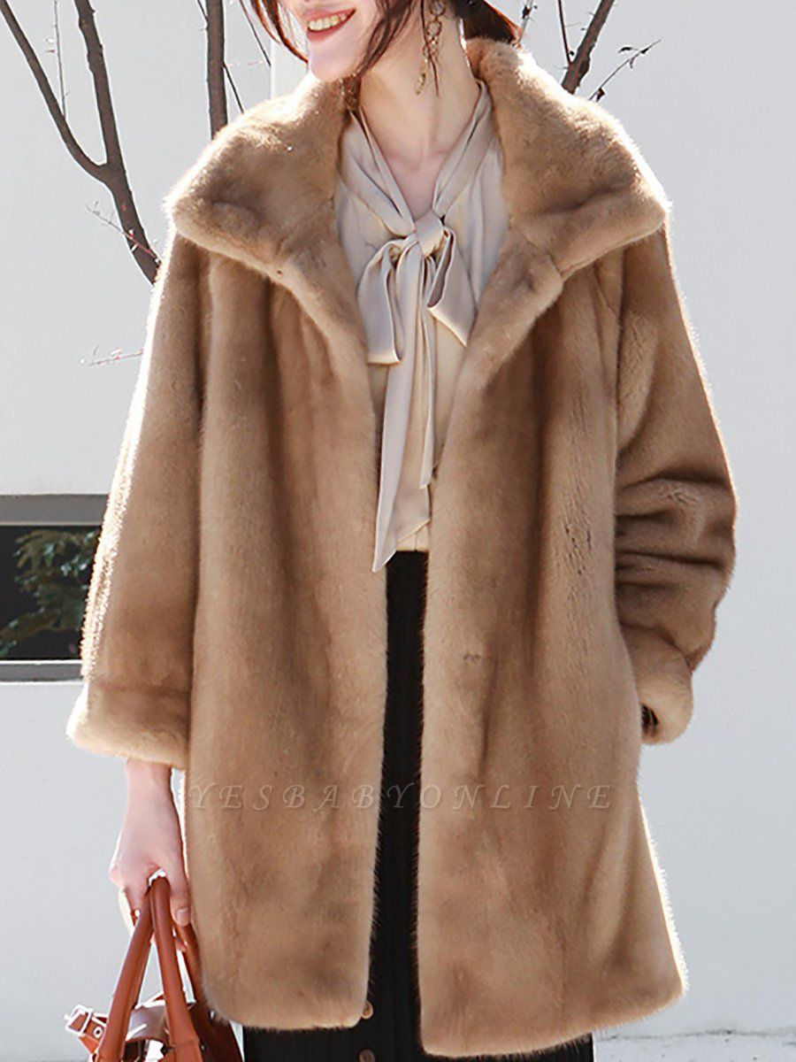 Long Sleeve Shirt Collar Fur And Shearling Coats