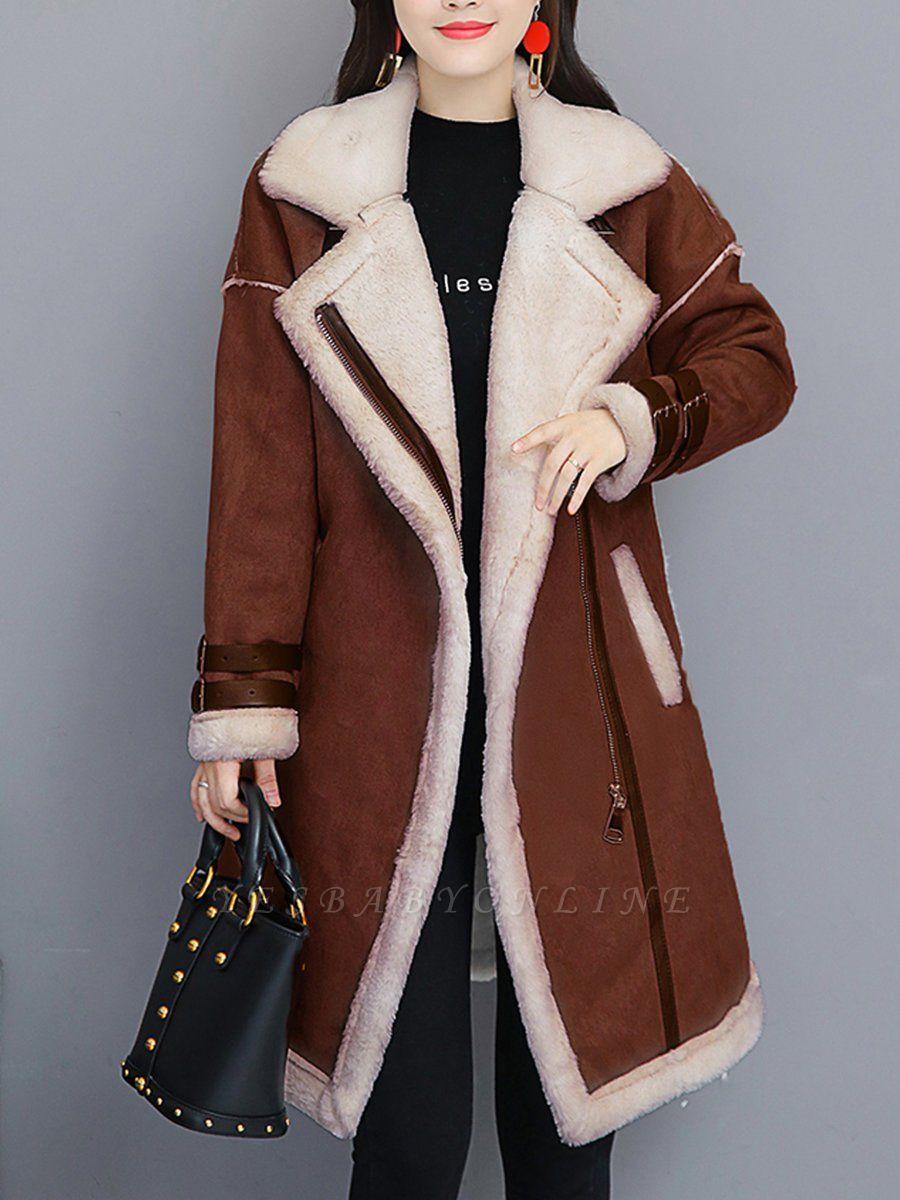 Paneled Long Sleeve Shift Fur And Shearling Coats