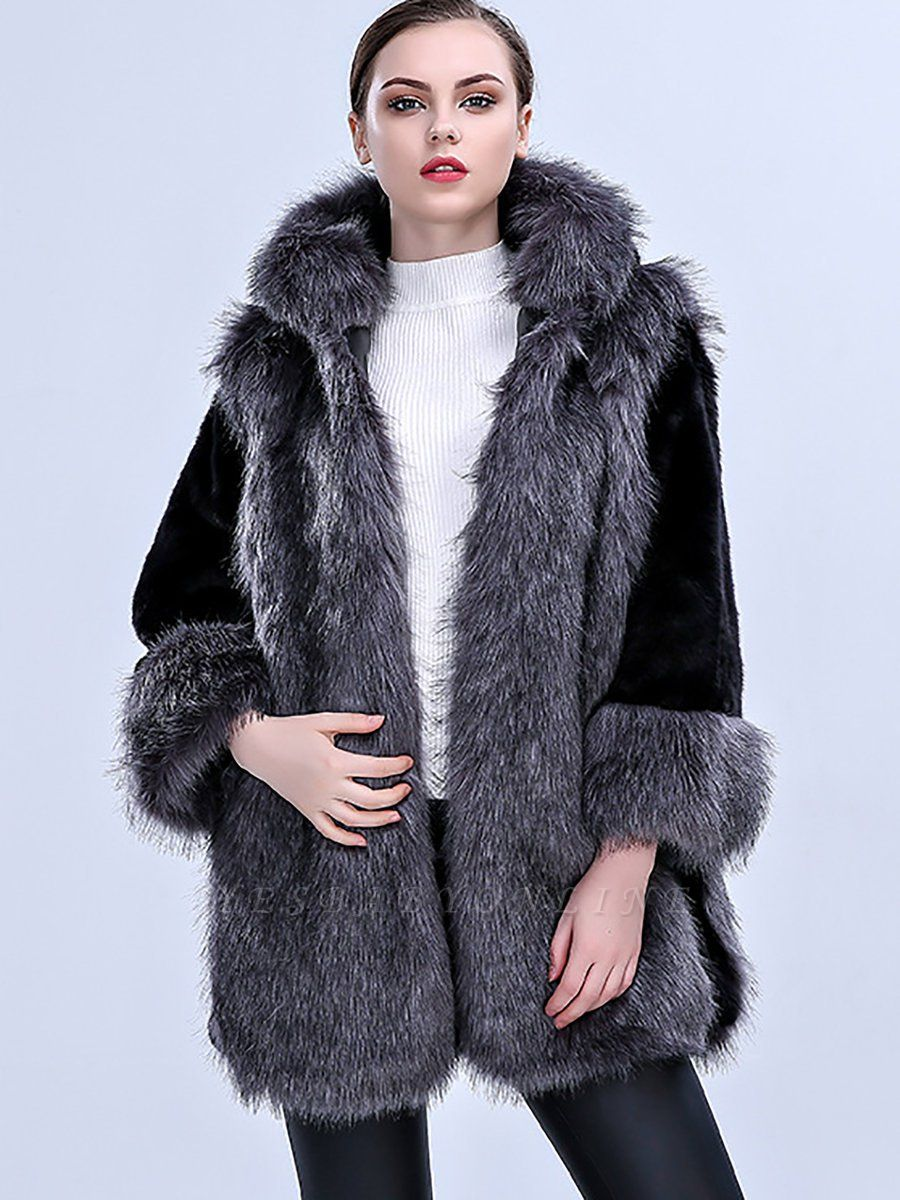 Gray Fluffy Hoodie Solid Fur And Shearling Coats