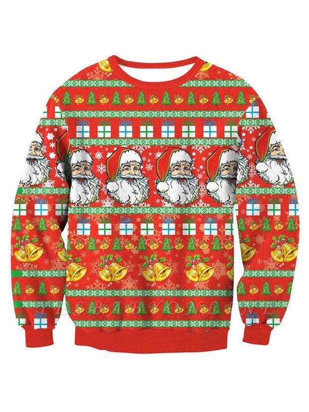 Orange Santa Claus Printed Long Sleeves Cute Christmas Sweatshirts for Women