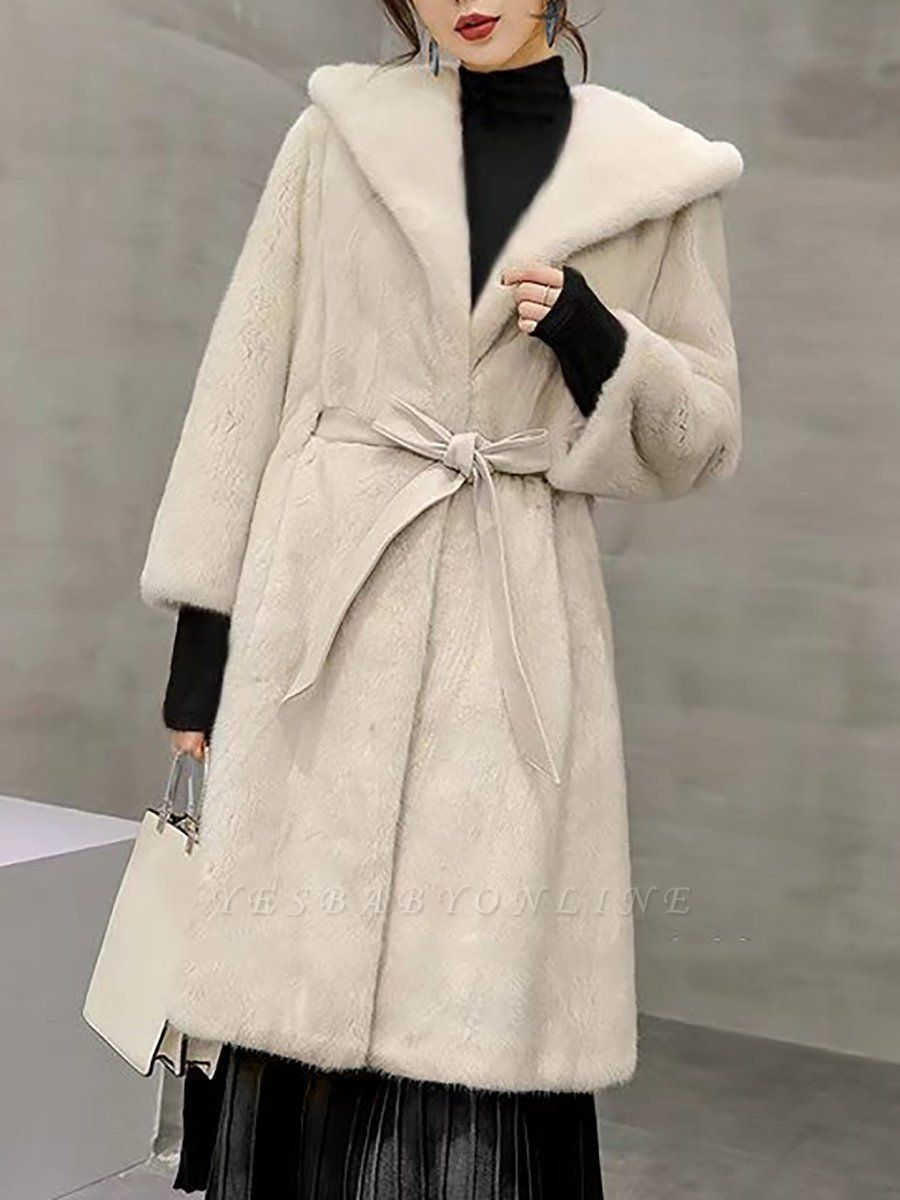 Solid Shift Long Sleeve Bow Casual Fur and Shearling Coat