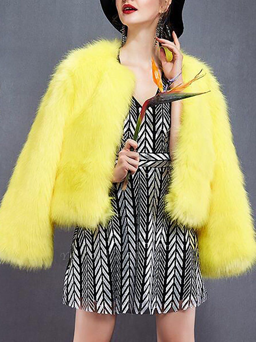 Yellow Fluffy Fur and Shearling Coat