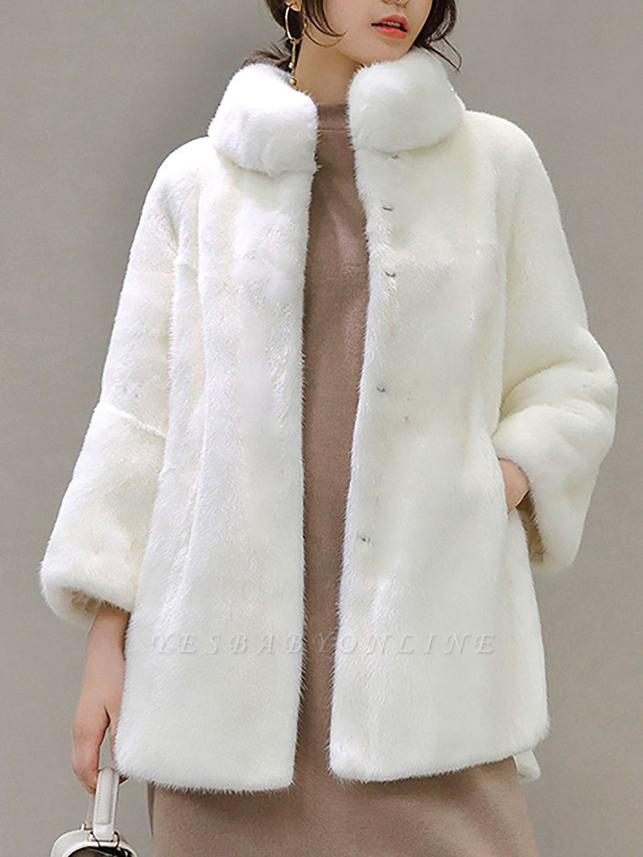 Stand Collar Shift Casual Long Sleeve Solid Fur and Shearling Coat