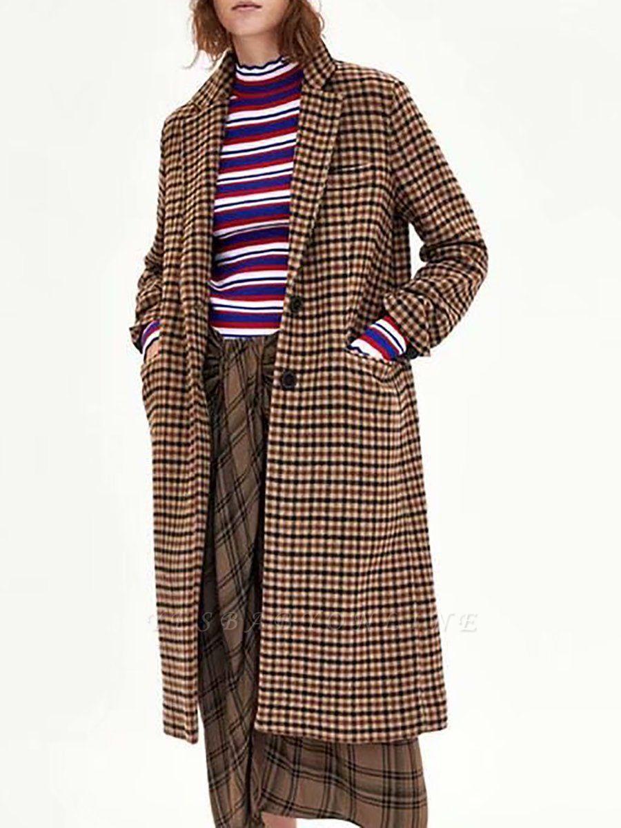 Casual Gingham Buttoned Pockets Shift Lapel Slit Coat