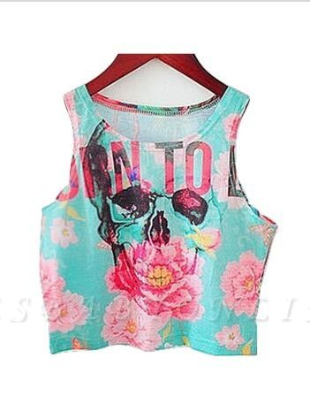 Blue Sleeveless Tank Tops Flowers Letters Printed Cropped T-shirt
